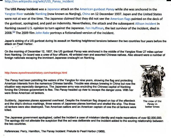 CHINA-JAPAN….1937 JAPANESE FORCES PANAY INCIDENT