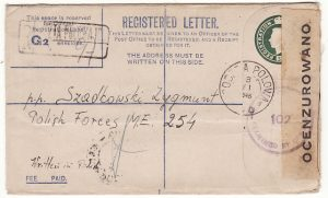 EGYPT-PALESTINE...WW2 POLISH FREE FORCES with OCENZUROWANO CENSOR LABEL..