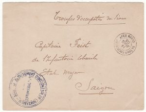 THAILAND - INDO-CHINE….1903 FRENCH OCCUPATION of CHANTABOON rare FRENCH MILITARY UNIT to UNIT MAIL...