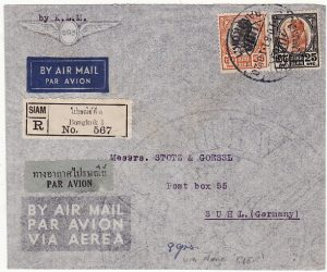 THAILAND-GERMANY...RAMA VII ADHESIVES used REGISTERED AIRMAIL in RAMA VIII REIGN..