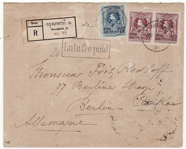 [16488]  THAILAND-GERMANY…1922 RAMA V1 REGISTERED with LATE FEE  1922(May 28)