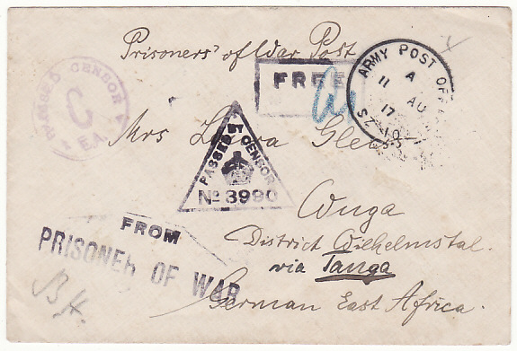 [16120]  EGYPT - GERMAN EAST AFRICA….WW1 CENSORED POW MAIL TO WUGA ….  1917 (Aug 11)