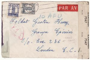 MOROCCO-GB..WW2 UNDERCOVER MAIL to FREE FRENCH AIR FORCE..