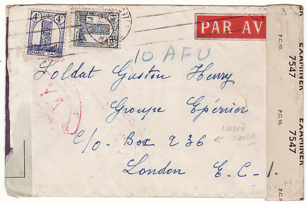 [16235]  MOROCCO-GB..WW2 UNDERCOVER MAIL to FREE FRENCH AIR FORCE..  1944(Oct? 18)