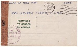 USA-MANCHURIA…WW2 US MARINE POW in CHINA RETURNED TO SENDER..