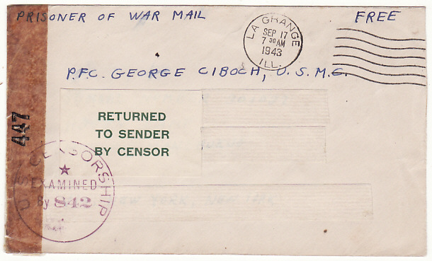[16236]  USA-MANCHURIA…WW2 US MARINE POW in CHINA RETURNED TO SENDER..  1943(Sep 17)