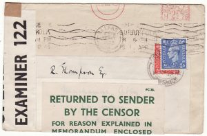 NORTHERN IRELAND..WW2 RETURNED BY CENSOR WITH ENCLOSURE