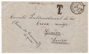 BELGIAN CONGO-SWITZERLAND…WW1 POW ENQUIRY with TAX hand stamp..