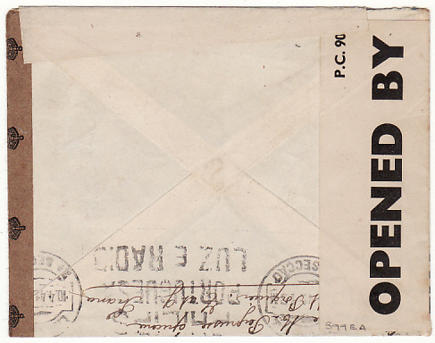 [16294]  FRANCE-PORTUGAL…THOMAS COOK BOX 506 MULTIPLE CENSORSHIP..  1941 (Mar 18)