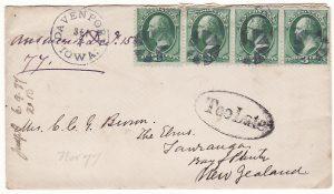 USA - NEW ZEALAND …..1877 TOO LATE…