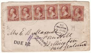 USA - NEW ZEALAND…1886 INSUFFICIENTLY PREPAID & TAXED
