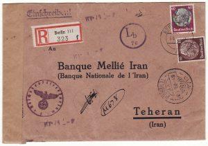 GERMANY-IRAN..WW2 CENSORED REGISTERED..
