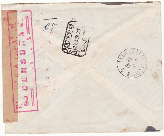 [16443]  SWITZERLAND-SPAIN..SPANISH CIVIL WAR INCOMING REGISTERED MAIL..  1937(Apr 24)