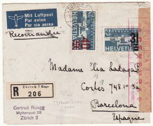 SWITZERLAND-SPAIN..SPANISH CIVIL WAR INCOMING REGISTERED MAIL..