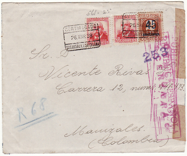 [16444]  SPAIN-COLOMBIA ...SPANISH CIVIL WAR REGISTERED to UNUSUAL DESTINATION..  1938(Mar 26)