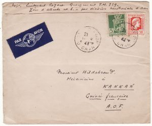 ALGERIA-FRENCH GUINEA..WW2 MILITARY by AIRMAIL..