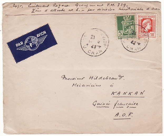 [16592]  ALGERIA-FRENCH GUINEA..WW2 MILITARY by AIRMAIL..  1944(Aug 14)