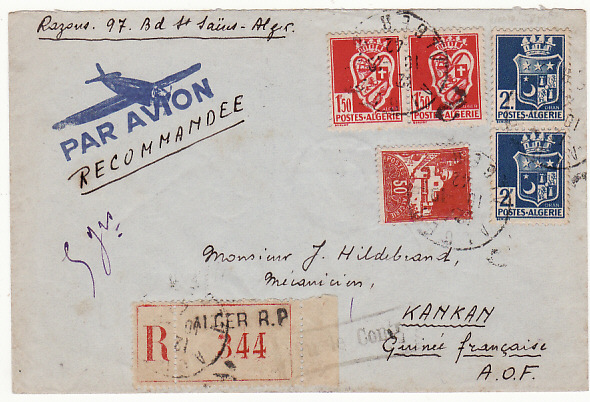 [16593]  ALGERIA-FRENCH GUINEA.. WW2 REGISTERED AIRMAIL..  1942(Oct 10)