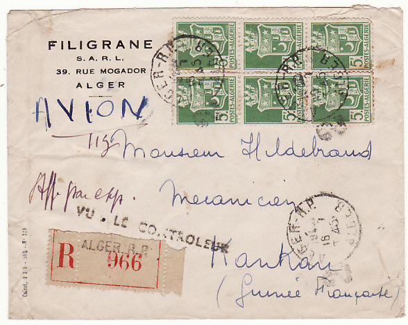 [16594]  ALGERIA-FRENCH GUINEA.. WW2 CENSORED REGISTERED AIRMAIL..  1945(Jul 16)