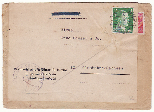 [16606]  BOHEMIA-GERMANY...WW2 UBER ROLLER MAIL ALLIED OCCUPATION..  1945(Apr 7)