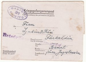 GERMANY-YUGOSLAVIA..WW2 POW SERVICE SUSPENDED MAIL..