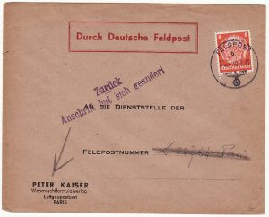 FRANCE..WW2 GERMAN FORCES in FRANCE INTERNAL & RETURNED TO SENDER..