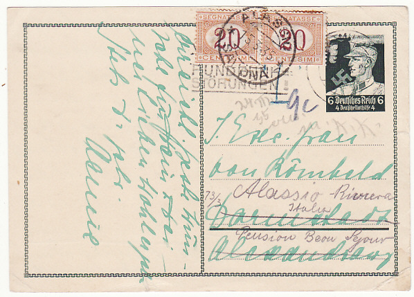 [16652]  GERMANY-ITALY…. 1935 RE-DIRECTED & TAXED..  1935(Mar 2)