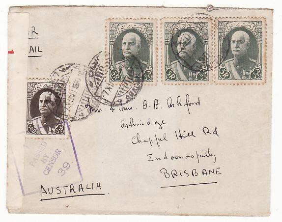 IRAN-AUSTRALIA...WW2 CENSORED in AUSTRALIA..