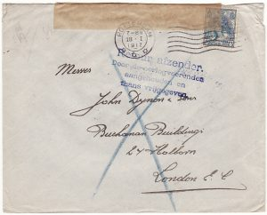 NETHERLANDS-GB...WW1 CENSORED & RETURNED TO SENDER..