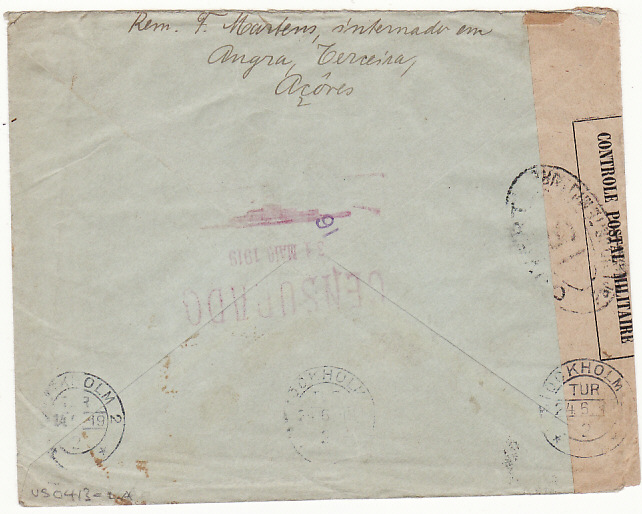 [16860]  PORTUGUESE COLS-SWEDEN...WW1 CIVIL INTERNEE from AZORZES..  1919(Mar 31)