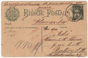 PORTUGUESE COLS-GERMANY...WW1 CIVIL INTERNEE from AZORZES..