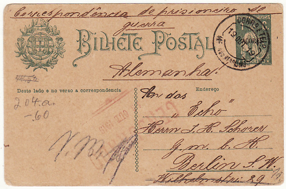 [16866]  PORTUGUESE COLS-GERMANY...WW1 CIVIL INTERNEE from AZORZES..  1919(Oct 16)