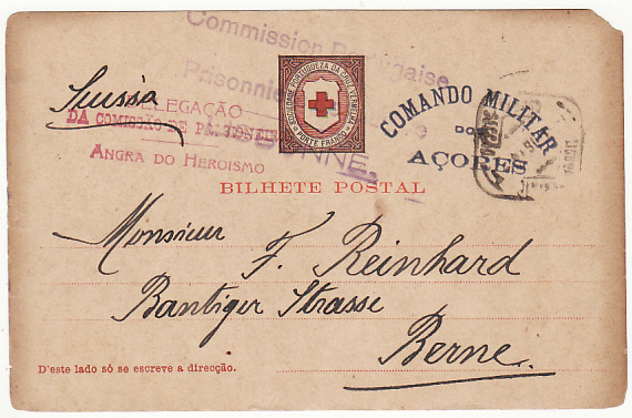 [16868]  PORTUGUESE COLS-SWITZERLAND...WW1 CIVIL INTERNEE from AZORZES..  1916(Jun 26)
