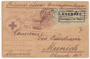 PORTUGUESE EAST AFRICA - GERMANY….WW1-EXEMPT POW LABEL VIA RED CROSS…
