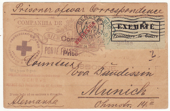 [16872]  PORTUGUESE EAST AFRICA - GERMANY….WW1-EXEMPT POW LABEL VIA RED CROSS…  1916 (Dec 20)