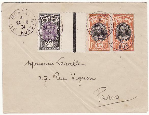 TAHITI-FRANCE…1934 from ISLE of RURUIU