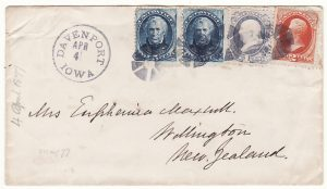 USA - NEW ZEALAND….1877 EARLY MAIL..