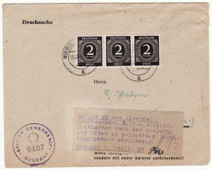 GERMANY...ALLIED OCCUPATION RETURNED TO SENDER