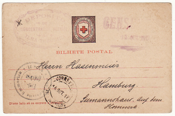 PORTUGUESE COLS-GERMANY...WW1 CIVIL INTERNEE in AZORZES RED X CARD