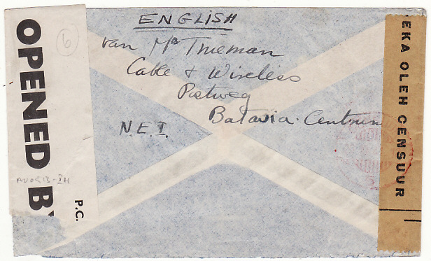 [16973]  NED. EAST INDIES-GB...WW2 DOUBLE CENSORED AIRMAIL via HORSESHOE ROUTE..  1941(Oct 17)