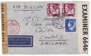 NED. EAST INDIES-GB...WW2 DOUBLE CENSORED AIRMAIL via HORSESHOE ROUTE..