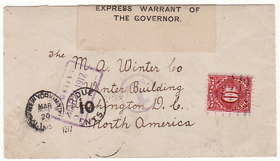[17032]  JAMAICA-USA...WW1 CENSORED & POSTAGE DUE  1917(Mar 12)