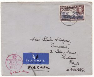 CEYLON-GB..WW2 SINGLE 1 RUPEE AIRMAIL with RAF CENSOR