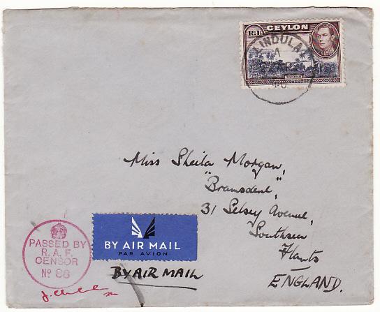CEYLON-GB..WW2 SINGLE 1 RUPEE AIRMAIL with RAF CENSOR