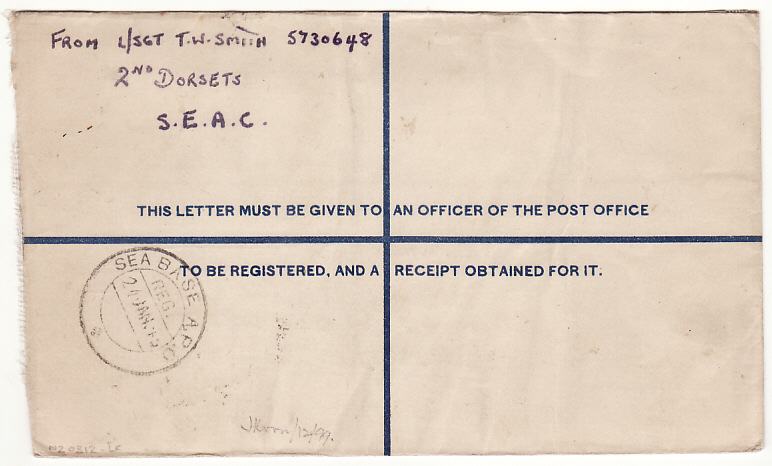[17017]  BURMA-SOUTH AFRICA..WW2 2nd DORSETS CENSORED REGISTERED AIRMAIL..   1945(Jan 22)