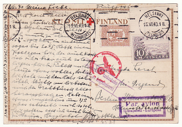 [17000]  FINLAND-GERMANY...WW2 DOUBLE CENSORED RED CROSS POSTCARD by AIRMAIL  1940)