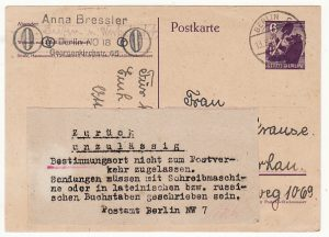 GERMANY-POLAND...ALLIED OCCUPATION RUSSIAN ZONE BERLIN RETURNED TO SENDER..