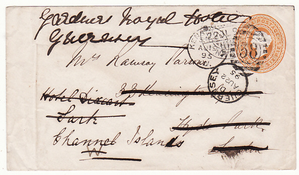 [17004]  INDIA-GB ..1895 to SARK & FORWARDED to GUERNSEY from CHITRAL RELIEF FORCE..  1895(Jul 22)