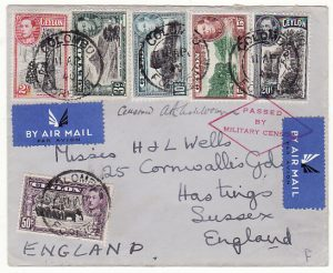 CEYLON-GB..WW2 AIRMAIL  with MILITARY CENSOR..