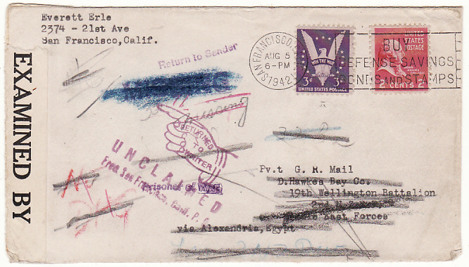 [12139]  USA-MEF..NZ FORCES-BATTLE of ALEMEIN MISSING & RETURNED SENDER..  1942(Aug 5)